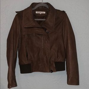Medium brown faux leather jacket